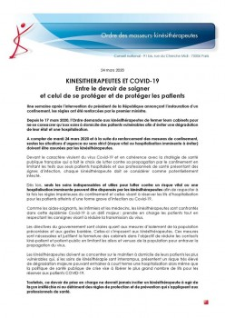 KINE ET COVID 19 ENTRE LE DEVOIR DE SOIGNER ET CELUI DE PROTEGER
